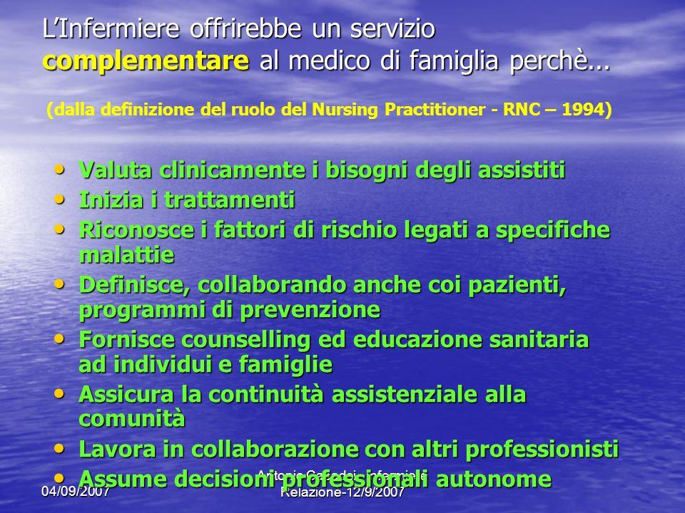 (dalla definizione del ruolo del Nursing Practitioner - RNC – 1994)