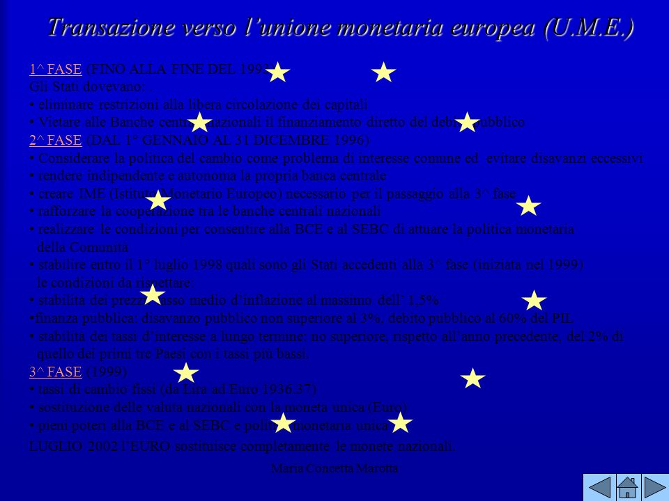 Transazione verso l'unione monetaria europea (U.M.E.)