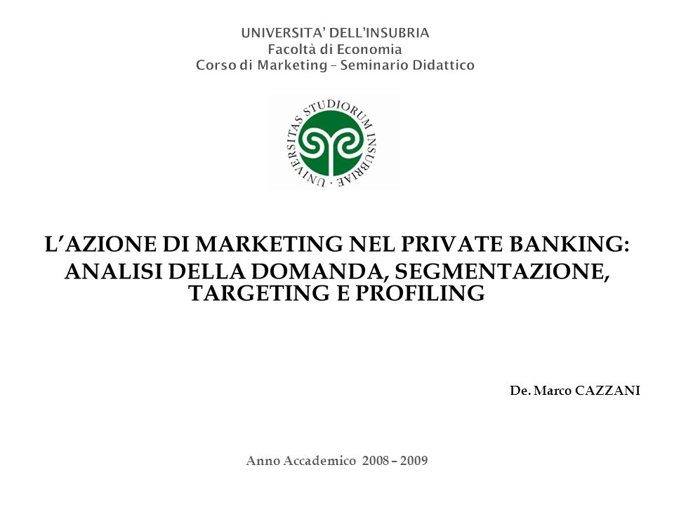 L'AZIONE DI MARKETING NEL PRIVATE BANKING: