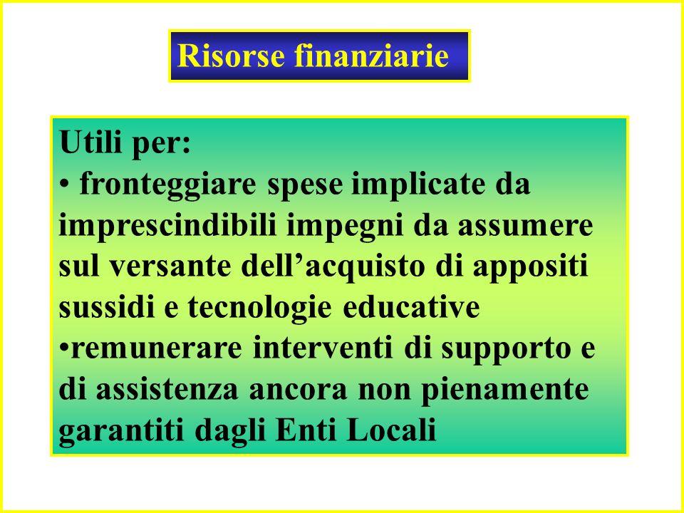 Risorse finanziarie Utili per: