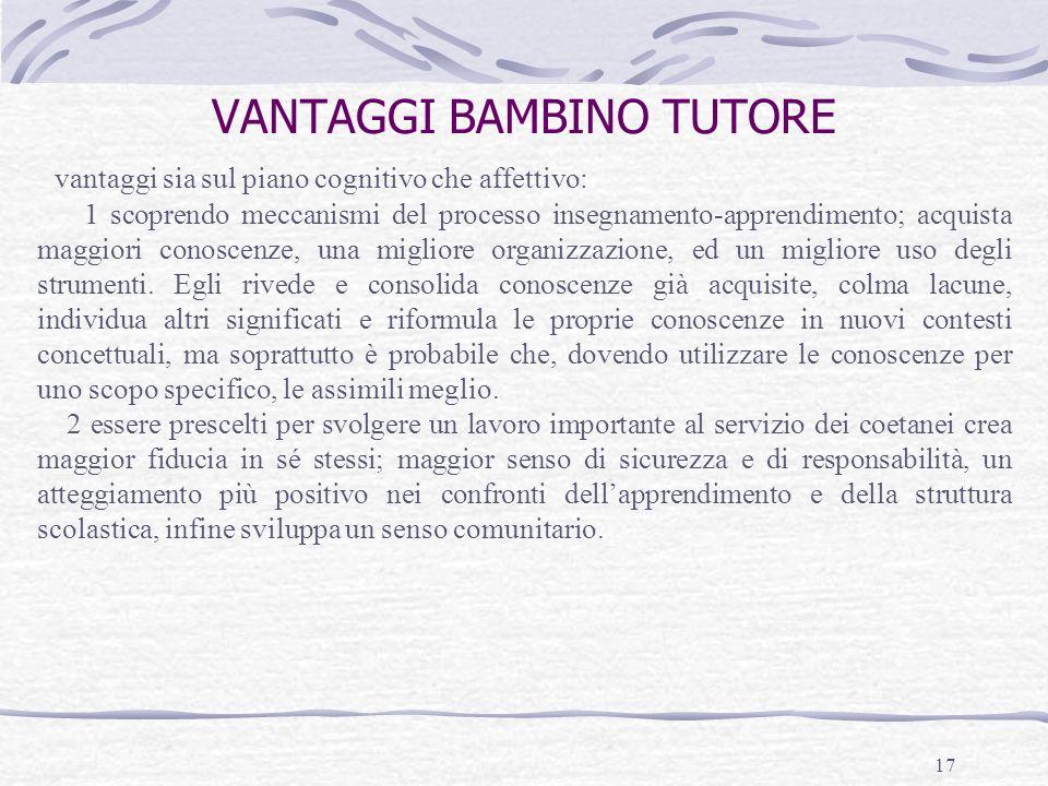 VANTAGGI BAMBINO TUTORE