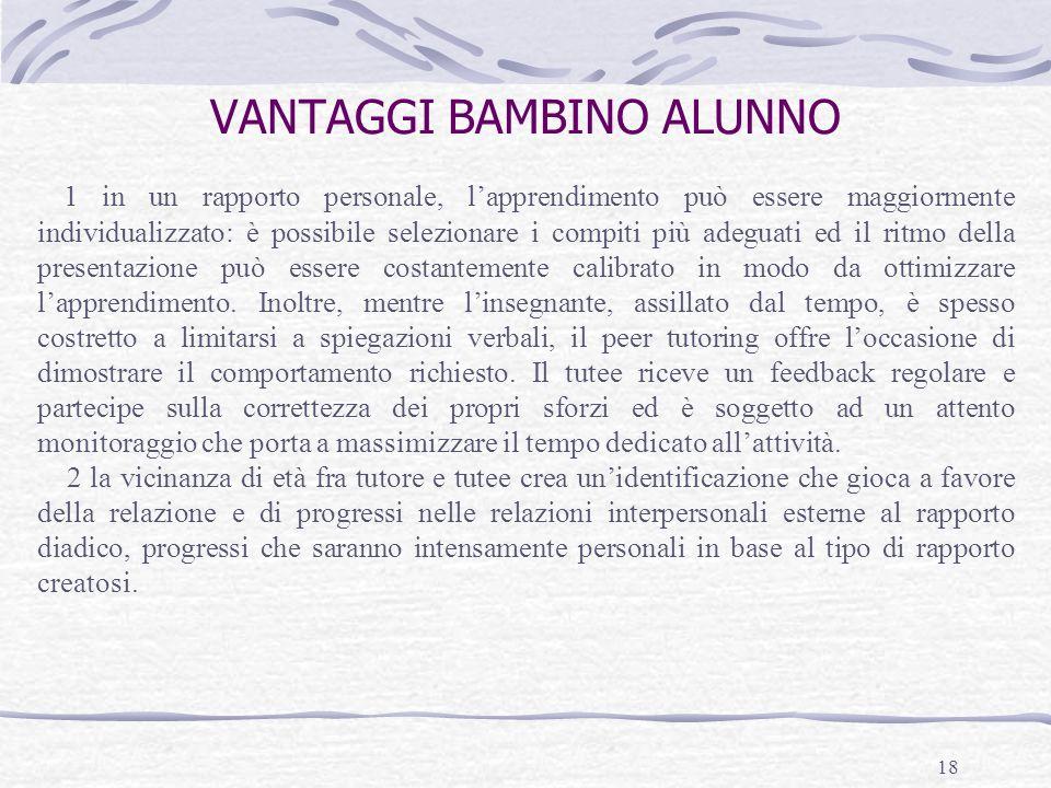 VANTAGGI BAMBINO ALUNNO