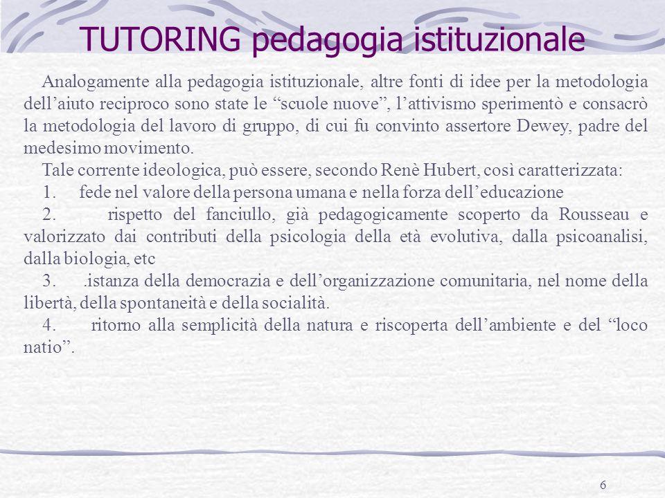 TUTORING pedagogia istituzionale