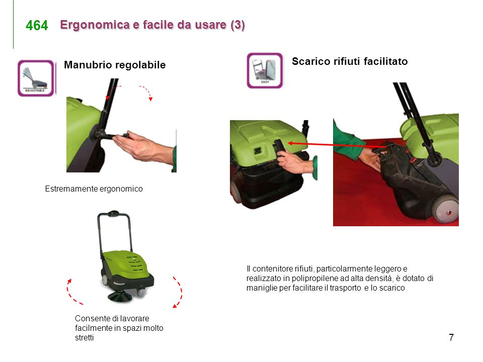 464 Ergonomica e facile da usare (3) Scarico rifiuti facilitato