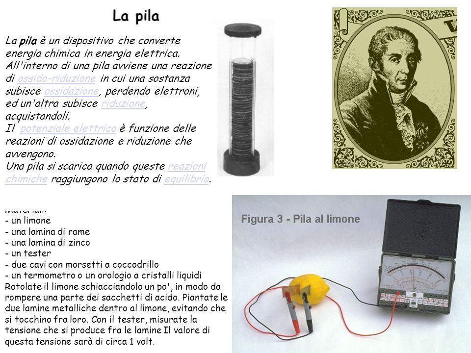 La pila è un dispositivo che converte energia chimica in energia elettrica.