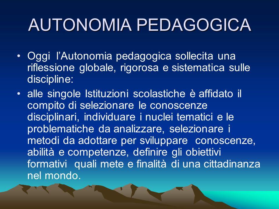 AUTONOMIA PEDAGOGICAOggi l'Autonomia pedagogica sollecita una riflessione globale, rigorosa e sistematica sulle discipline: