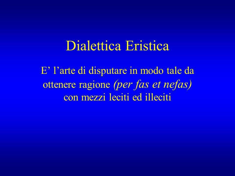 Dialettica Eristica E' l'arte di disputare in modo tale da ottenere ragione (per fas et nefas) con mezzi leciti ed illeciti.