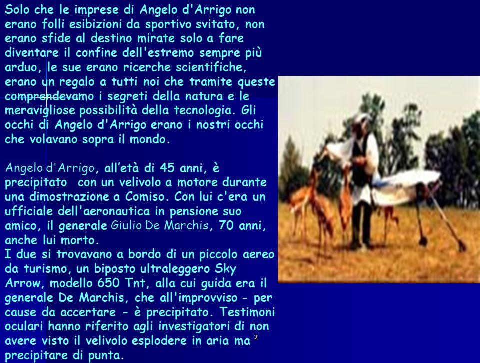 Solo che le imprese di Angelo d Arrigo non erano folli esibizioni da sportivo svitato, non erano sfide al destino mirate solo a fare diventare il confine dell estremo sempre più arduo, le sue erano ricerche scientifiche, erano un regalo a tutti noi che tramite queste comprendevamo i segreti della natura e le meravigliose possibilità della tecnologia. Gli occhi di Angelo d Arrigo erano i nostri occhi che volavano sopra il mondo. Angelo d Arrigo, all'età di 45 anni, è precipitato con un velivolo a motore durante una dimostrazione a Comiso. Con lui c era un ufficiale dell aeronautica in pensione suo amico, il generale Giulio De Marchis, 70 anni, anche lui morto. I due si trovavano a bordo di un piccolo aereo da turismo, un biposto ultraleggero Sky Arrow, modello 650 Tnt, alla cui guida era il generale De Marchis, che all improvviso - per cause da accertare - è precipitato. Testimoni oculari hanno riferito agli investigatori di non avere visto il velivolo esplodere in aria ma precipitare di punta.