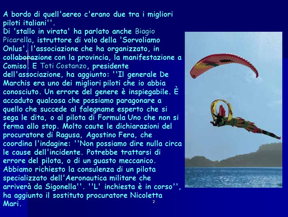 A bordo di quell aereo c erano due tra i migliori piloti italiani