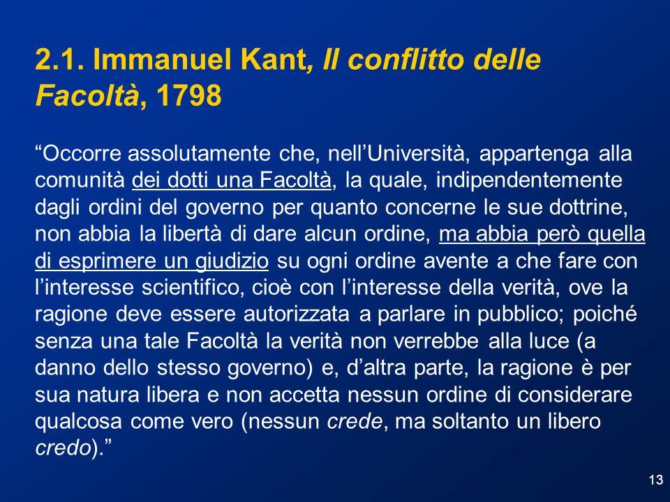 2.1. Immanuel Kant, Il conflitto delle Facoltà, 1798