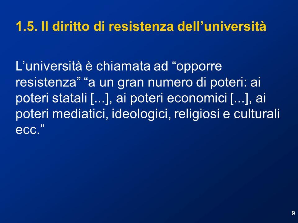 1.5. Il diritto di resistenza dell'università