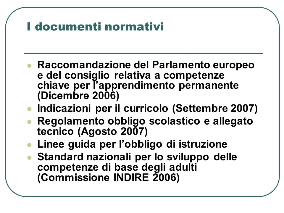I documenti normativi