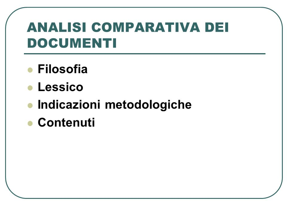 ANALISI COMPARATIVA DEI DOCUMENTI