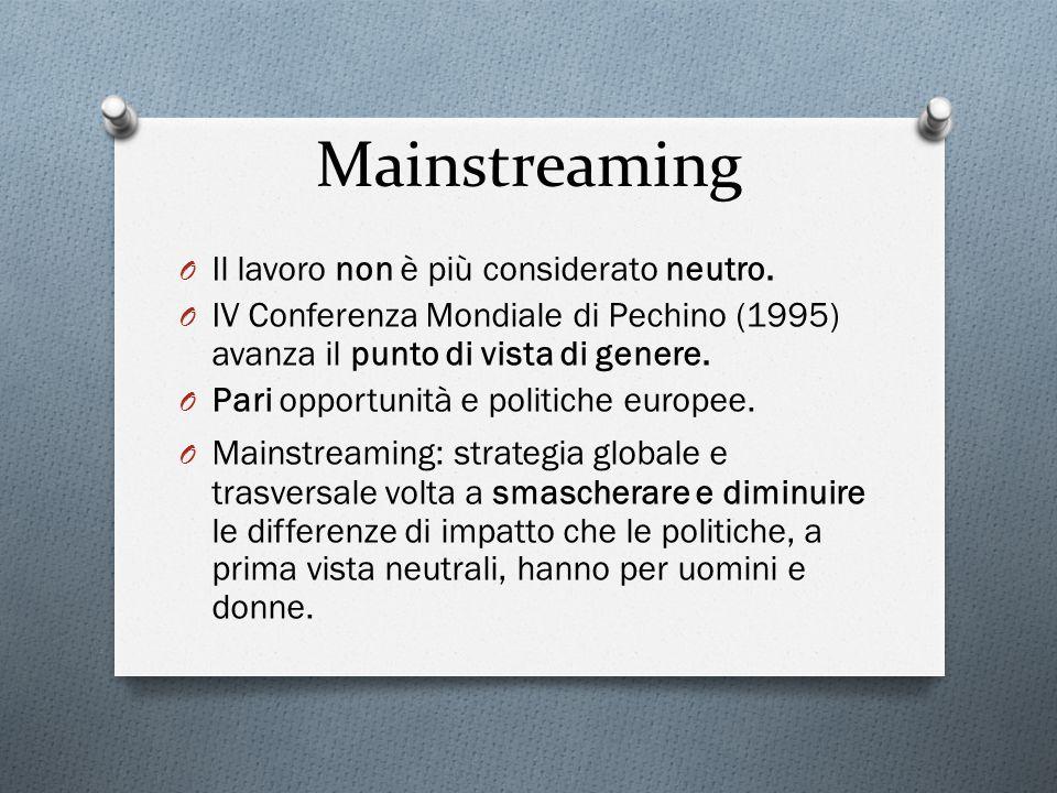Mainstreaming Il lavoro non è più considerato neutro.