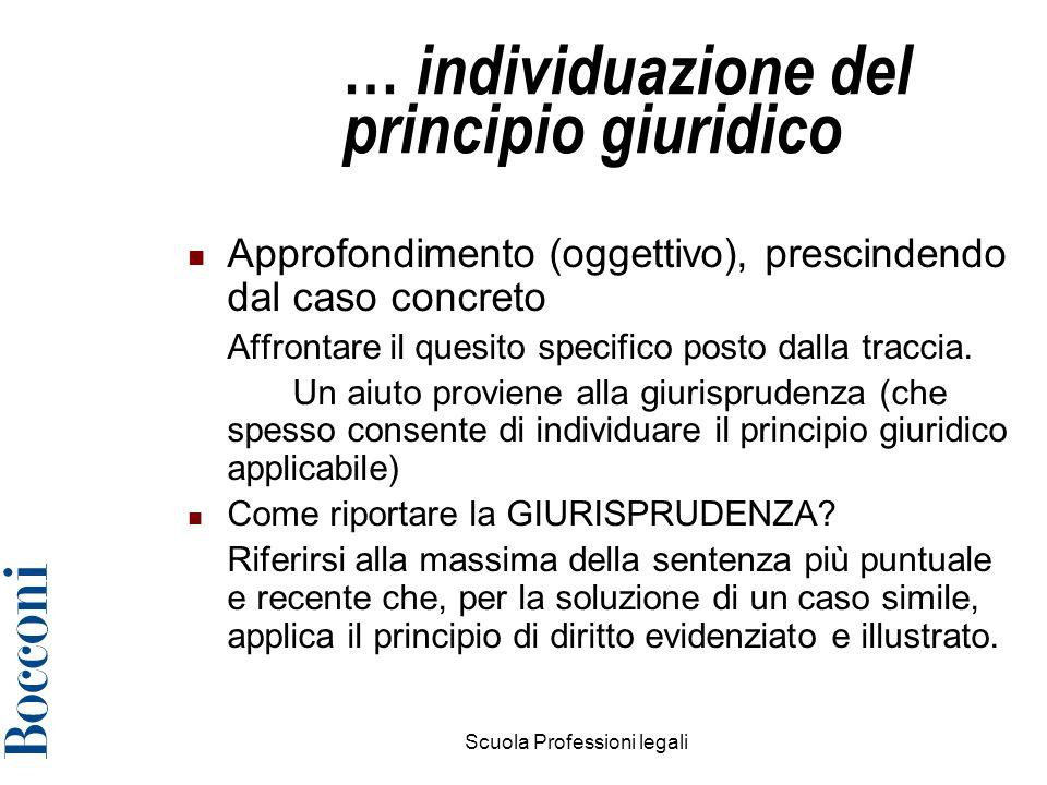 … individuazione del principio giuridico