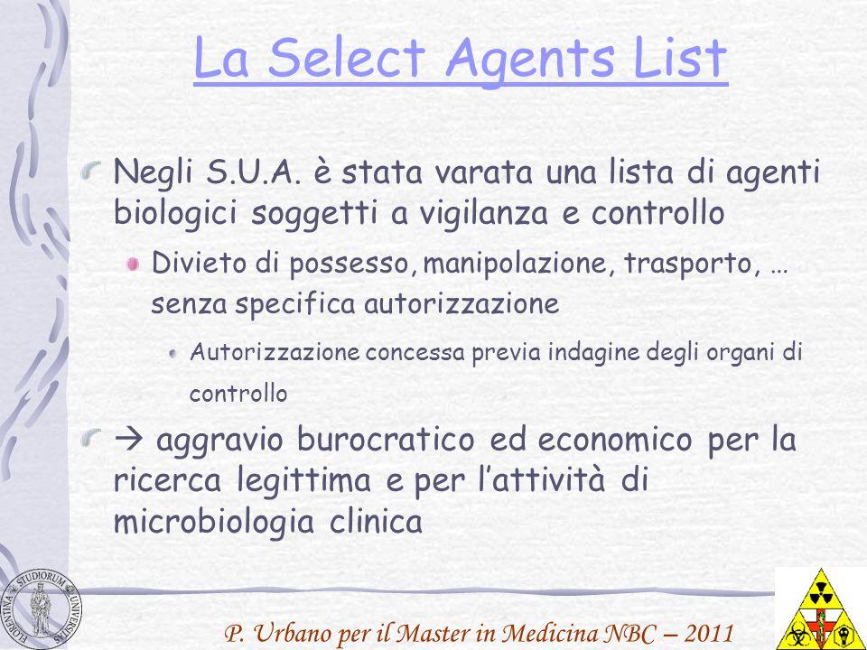 La Select Agents List Negli S.U.A. è stata varata una lista di agenti biologici soggetti a vigilanza e controllo.