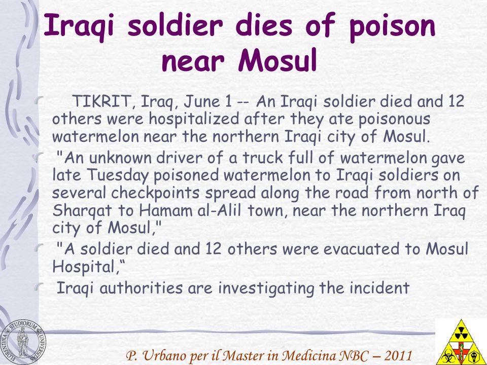 Iraqi soldier dies of poison near Mosul