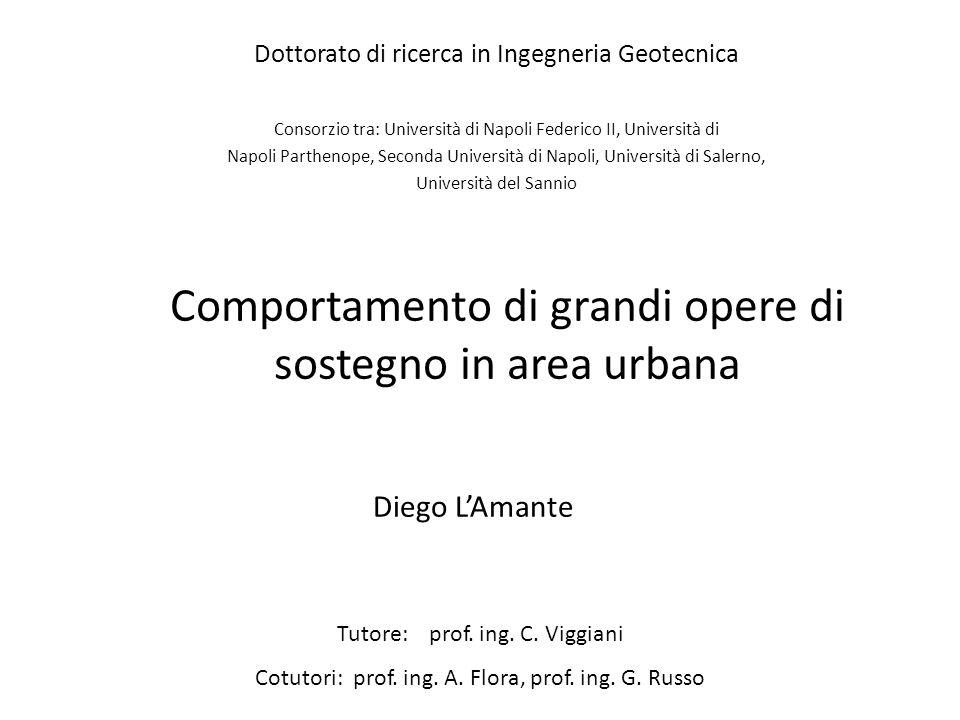 Comportamento di grandi opere di sostegno in area urbana