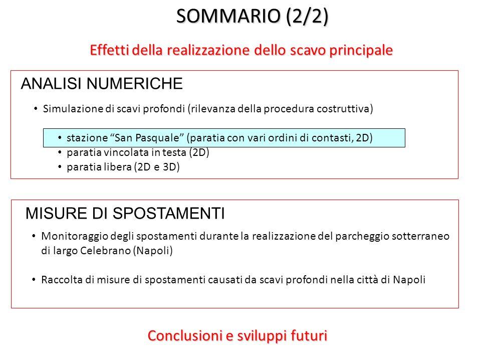 SOMMARIO (2/2) Effetti della realizzazione dello scavo principale