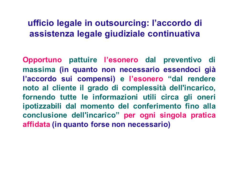 ufficio legale in outsourcing: l'accordo di assistenza legale giudiziale continuativa
