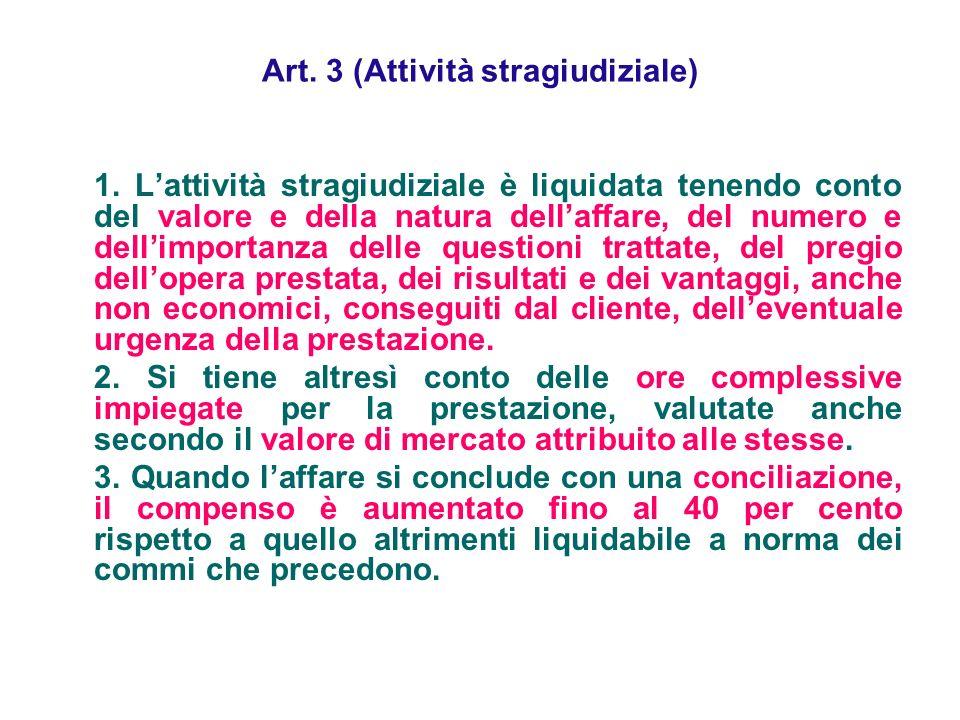 Art. 3 (Attività stragiudiziale)