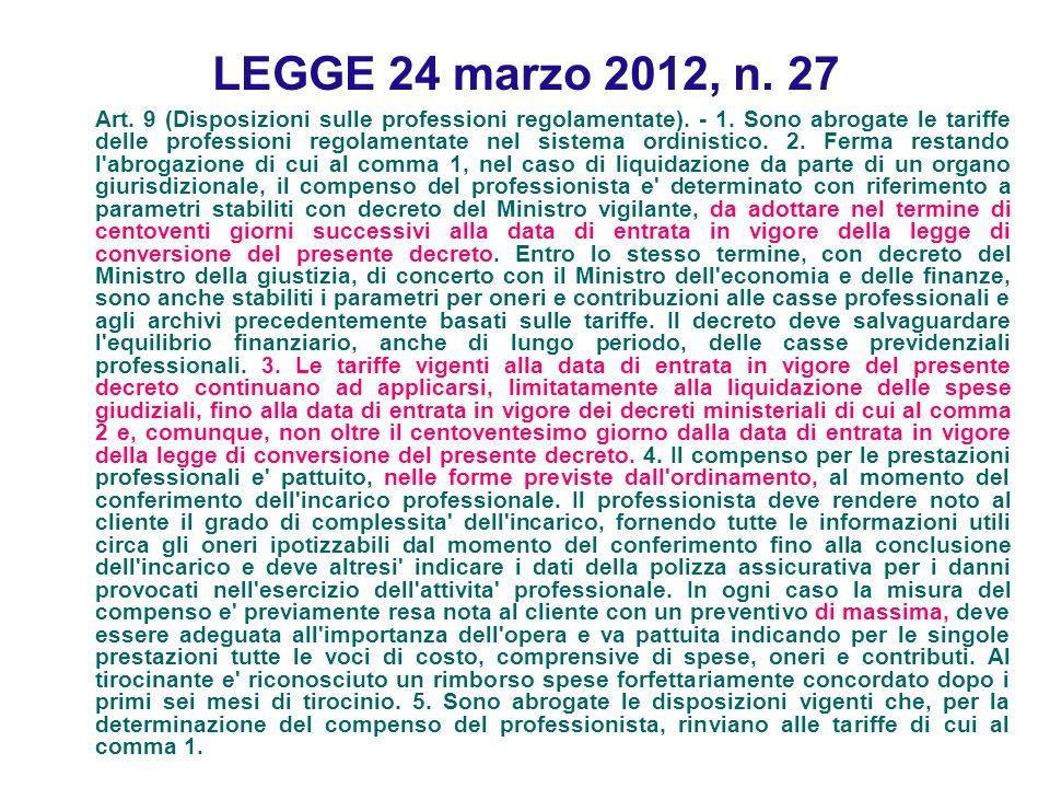 LEGGE 24 marzo 2012, n. 27
