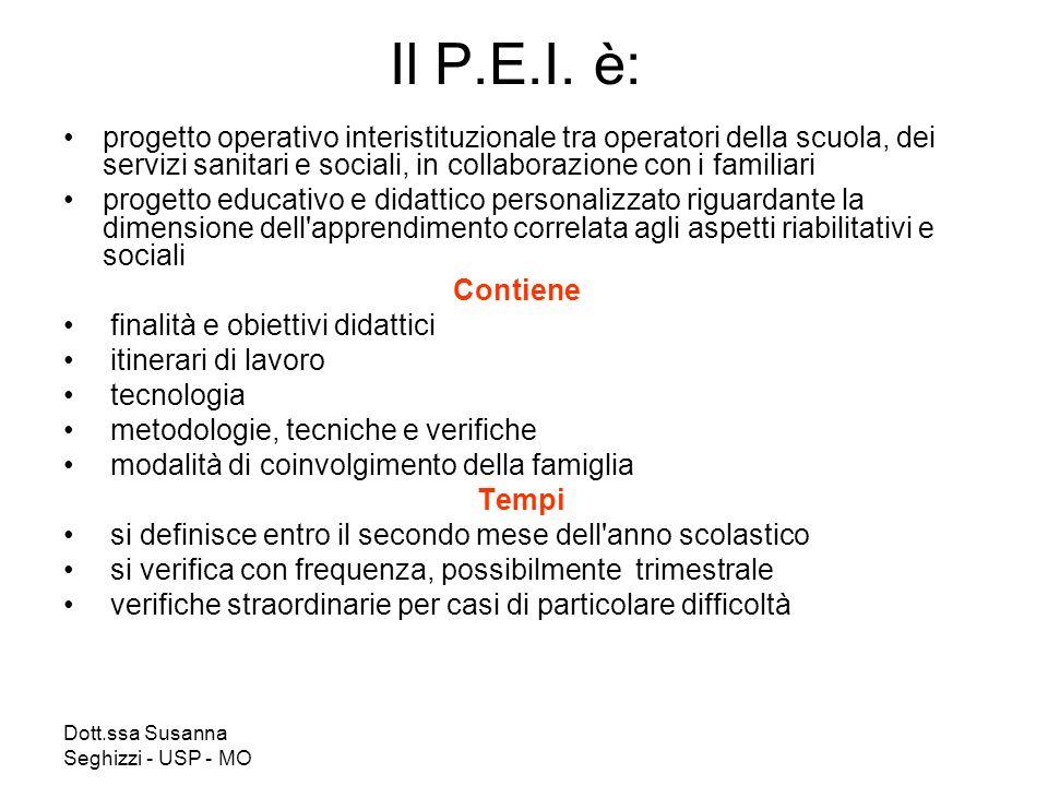 Il P.E.I. è: progetto operativo interistituzionale tra operatori della scuola, dei servizi sanitari e sociali, in collaborazione con i familiari