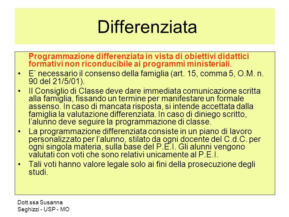 Differenziata Programmazione differenziata in vista di obiettivi didattici formativi non riconducibile ai programmi ministeriali.