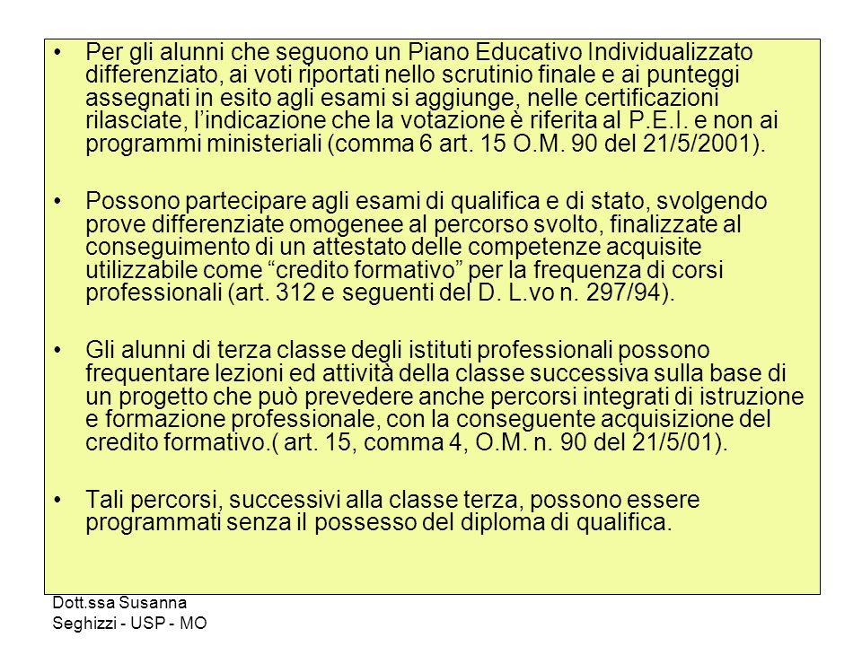 Per gli alunni che seguono un Piano Educativo Individualizzato differenziato, ai voti riportati nello scrutinio finale e ai punteggi assegnati in esito agli esami si aggiunge, nelle certificazioni rilasciate, l'indicazione che la votazione è riferita al P.E.I. e non ai programmi ministeriali (comma 6 art. 15 O.M. 90 del 21/5/2001).