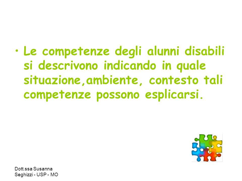 Le competenze degli alunni disabili si descrivono indicando in quale situazione,ambiente, contesto tali competenze possono esplicarsi.