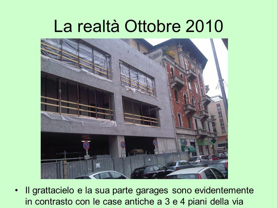 La realtà Ottobre 2010 Il grattacielo e la sua parte garages sono evidentemente in contrasto con le case antiche a 3 e 4 piani della via.