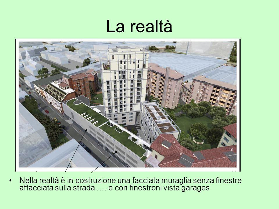 La realtà Nella realtà è in costruzione una facciata muraglia senza finestre affacciata sulla strada ….