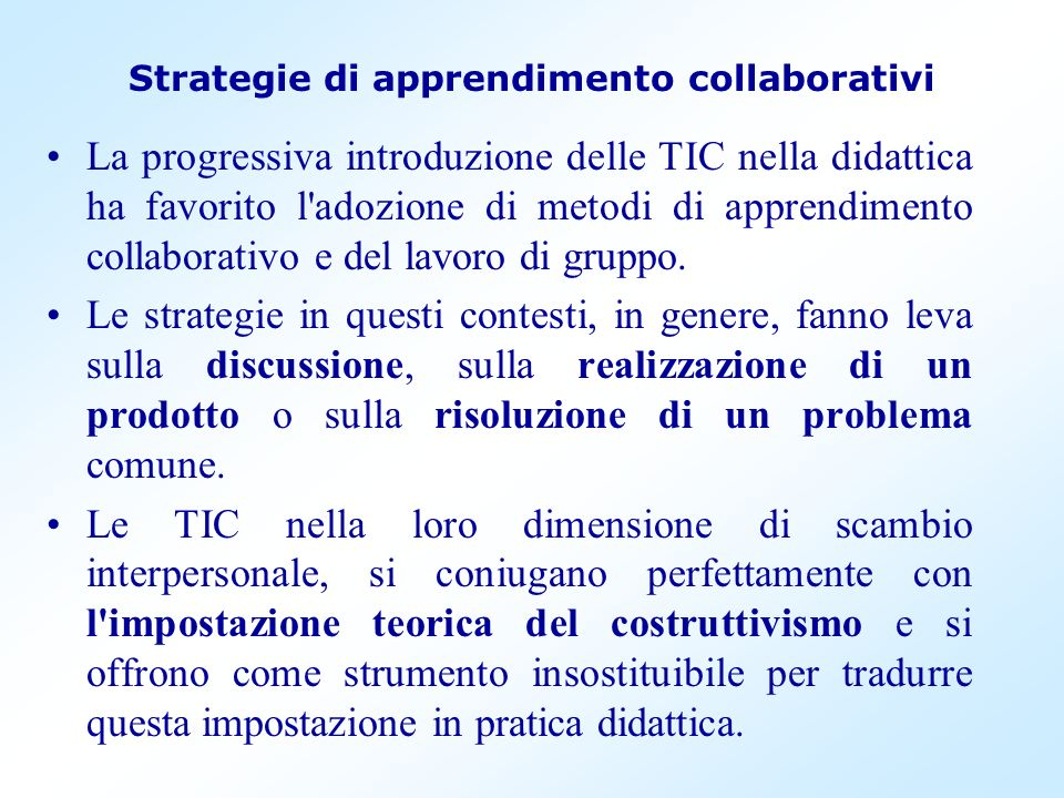 Strategie di apprendimento collaborativi