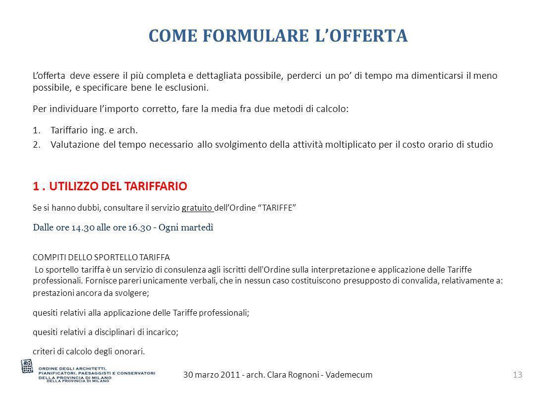 COME FORMULARE L'OFFERTA