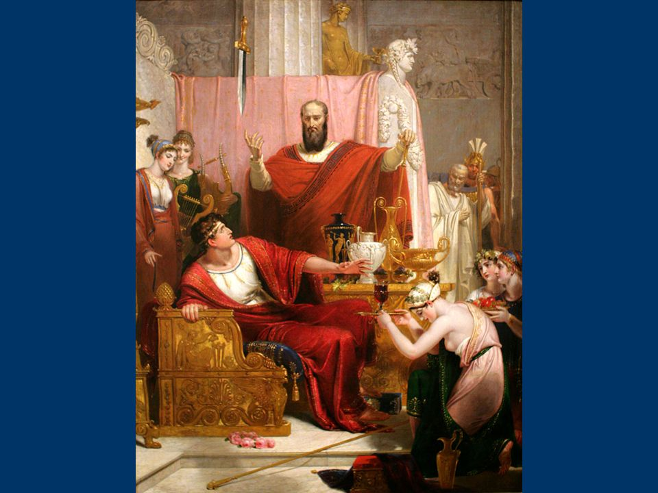 Secondo il racconto di Cicerone, Damocle è un cortigiano particolarmente adulatore alla corte di Dionigi I di Siracusa, un tiranno del IV secolo a.C..