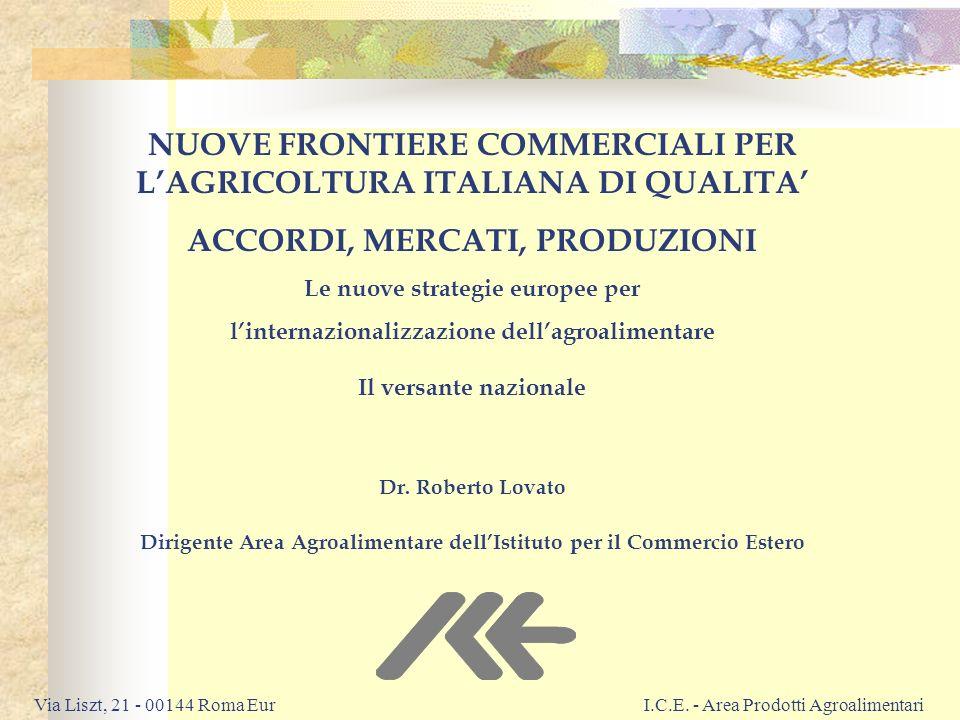 NUOVE FRONTIERE COMMERCIALI PER L'AGRICOLTURA ITALIANA DI QUALITA'