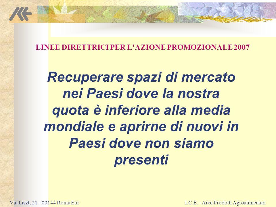 LINEE DIRETTRICI PER L'AZIONE PROMOZIONALE 2007