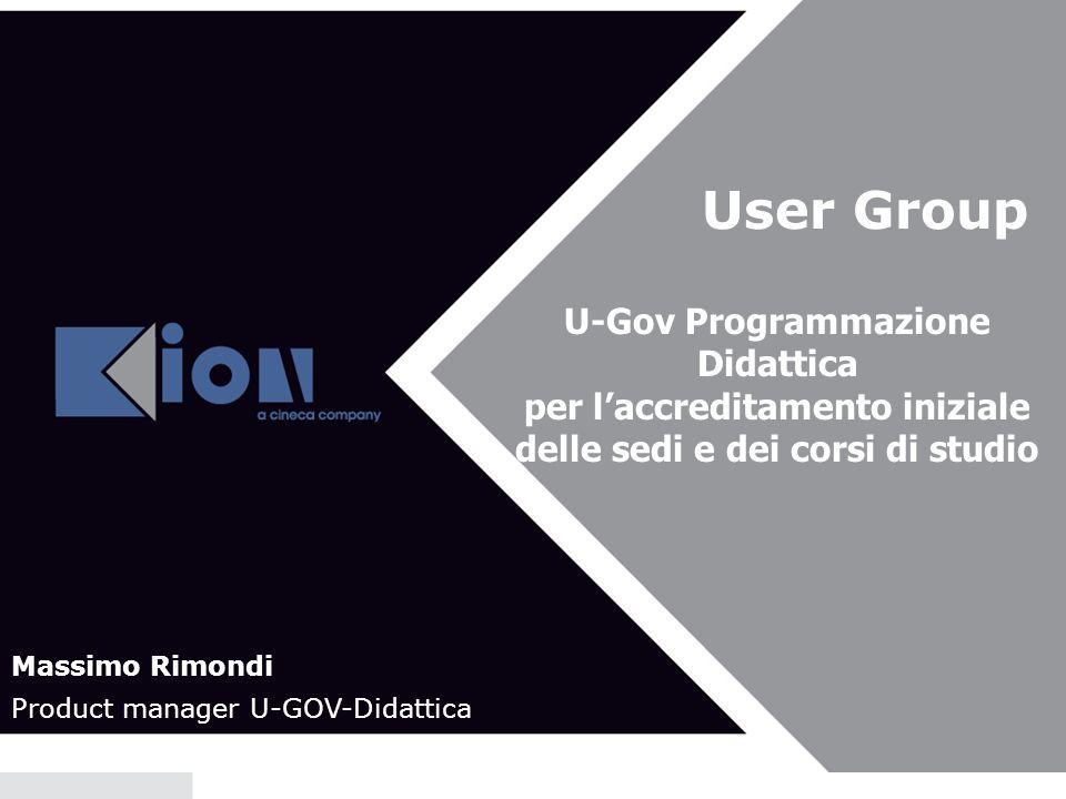 User Group U-Gov Programmazione Didattica