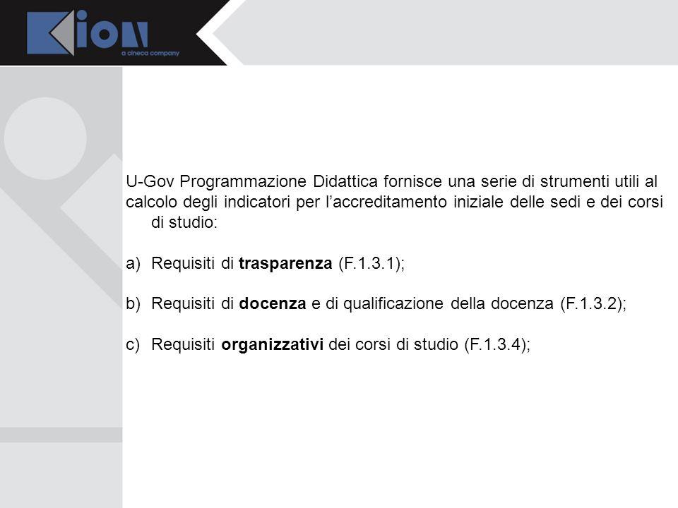 U-Gov Programmazione Didattica fornisce una serie di strumenti utili al