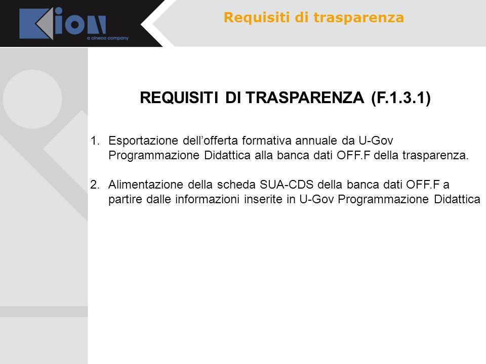 Requisiti di trasparenza REQUISITI DI TRASPARENZA (F.1.3.1)