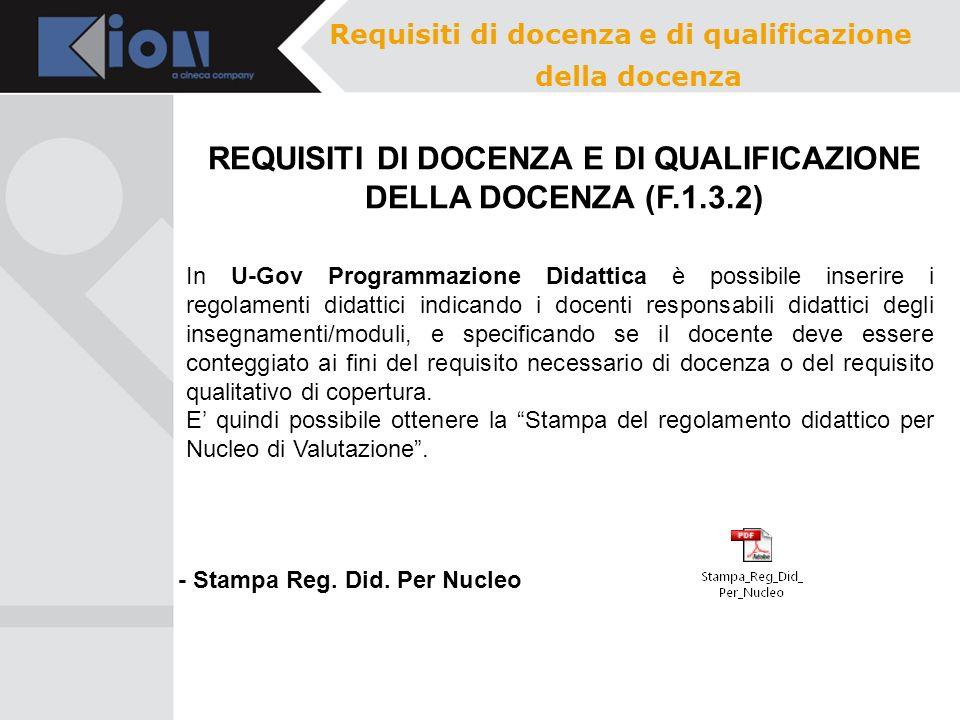 REQUISITI DI DOCENZA E DI QUALIFICAZIONE DELLA DOCENZA (F.1.3.2)