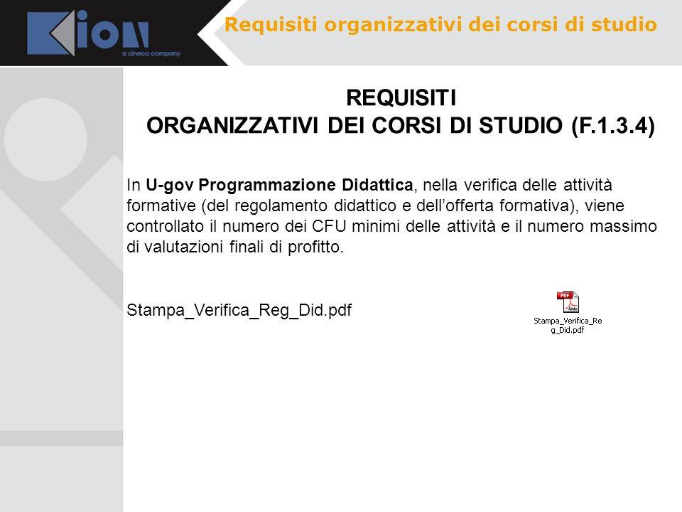 REQUISITI ORGANIZZATIVI DEI CORSI DI STUDIO (F.1.3.4)