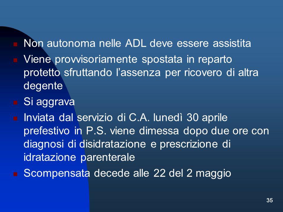 Non autonoma nelle ADL deve essere assistita