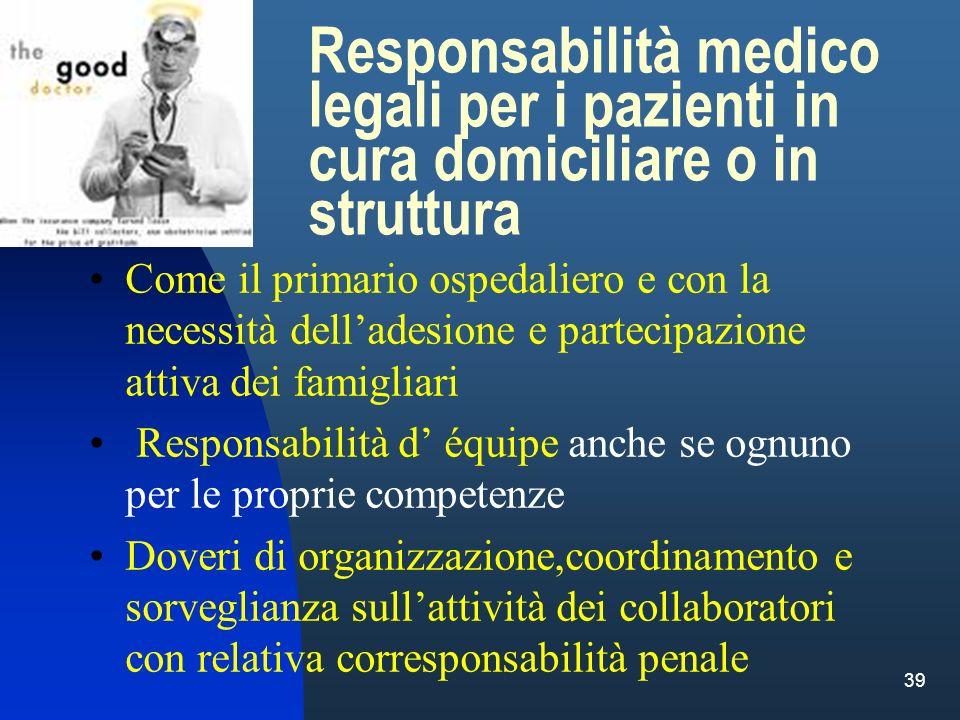 Responsabilità medico legali per i pazienti in cura domiciliare o in struttura