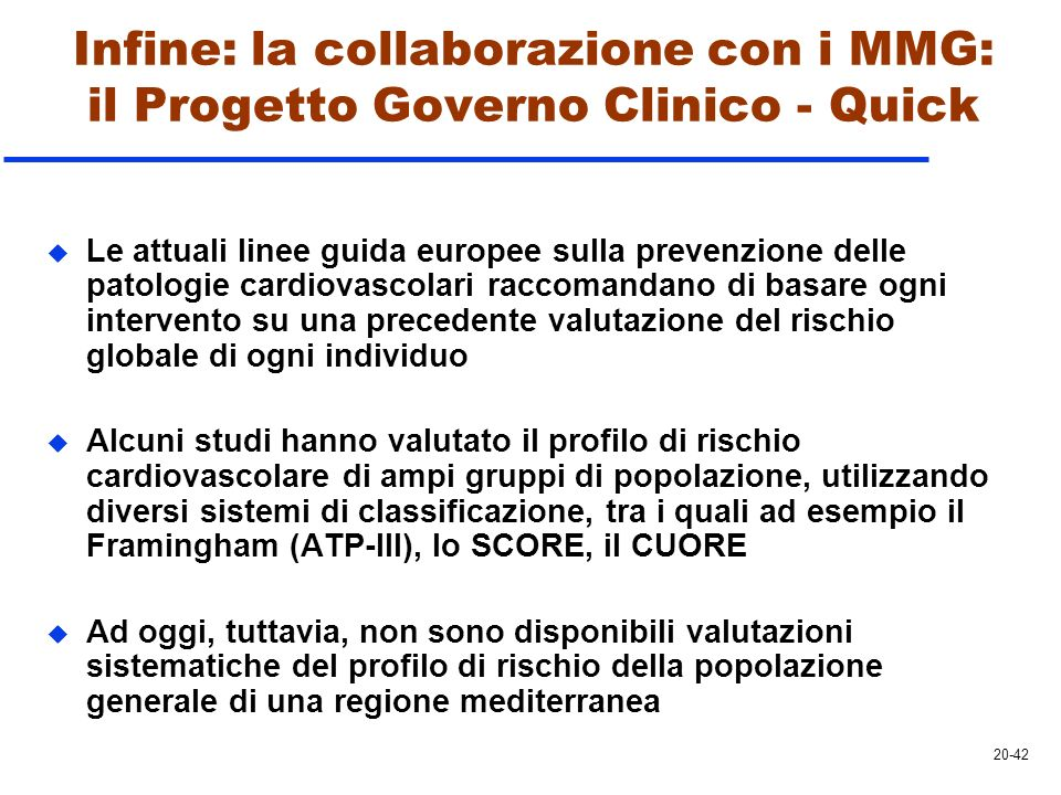 Infine: la collaborazione con i MMG: il Progetto Governo Clinico - Quick
