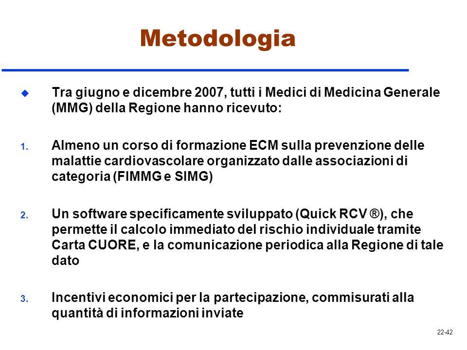 Metodologia Tra giugno e dicembre 2007, tutti i Medici di Medicina Generale (MMG) della Regione hanno ricevuto: