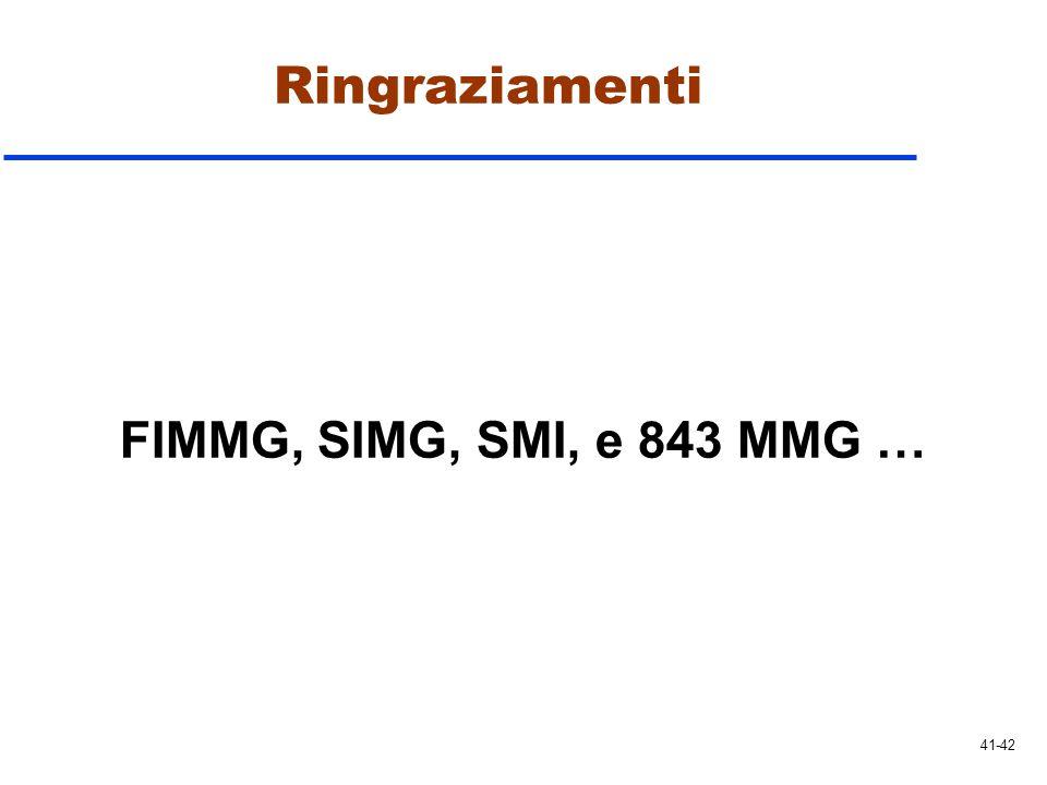 Ringraziamenti FIMMG, SIMG, SMI, e 843 MMG … 41-42