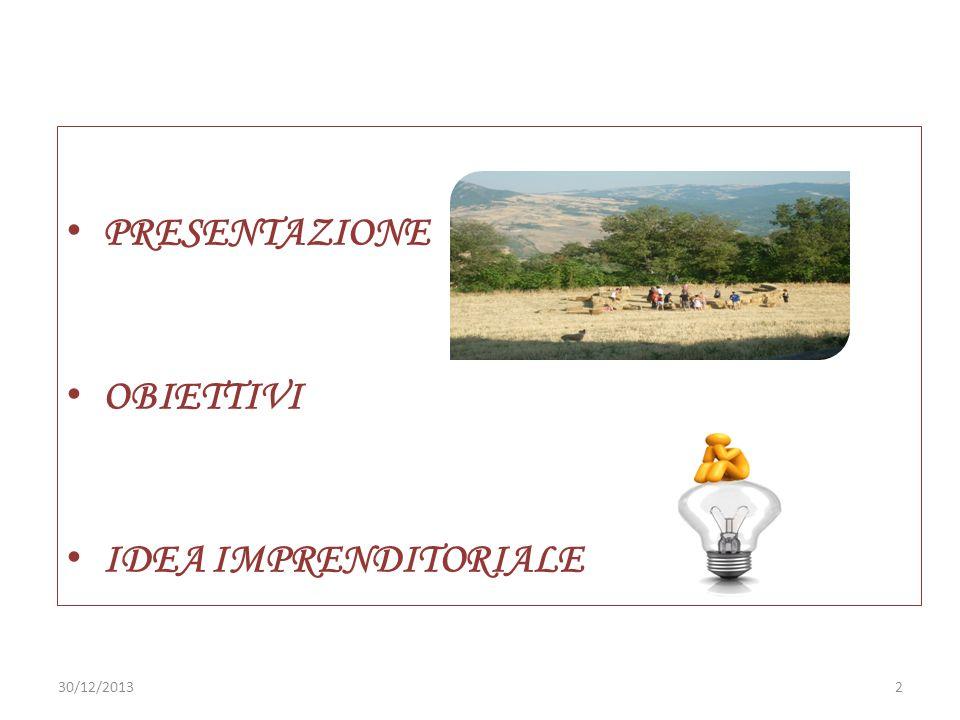PRESENTAZIONE OBIETTIVI IDEA IMPRENDITORIALE 25/03/2017