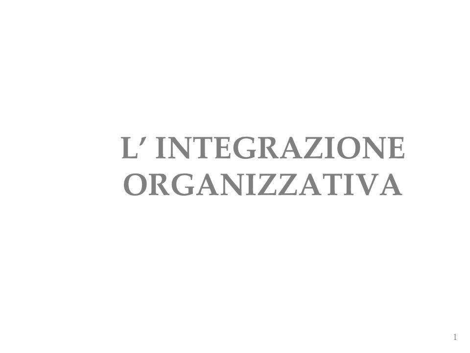 L' INTEGRAZIONE ORGANIZZATIVA