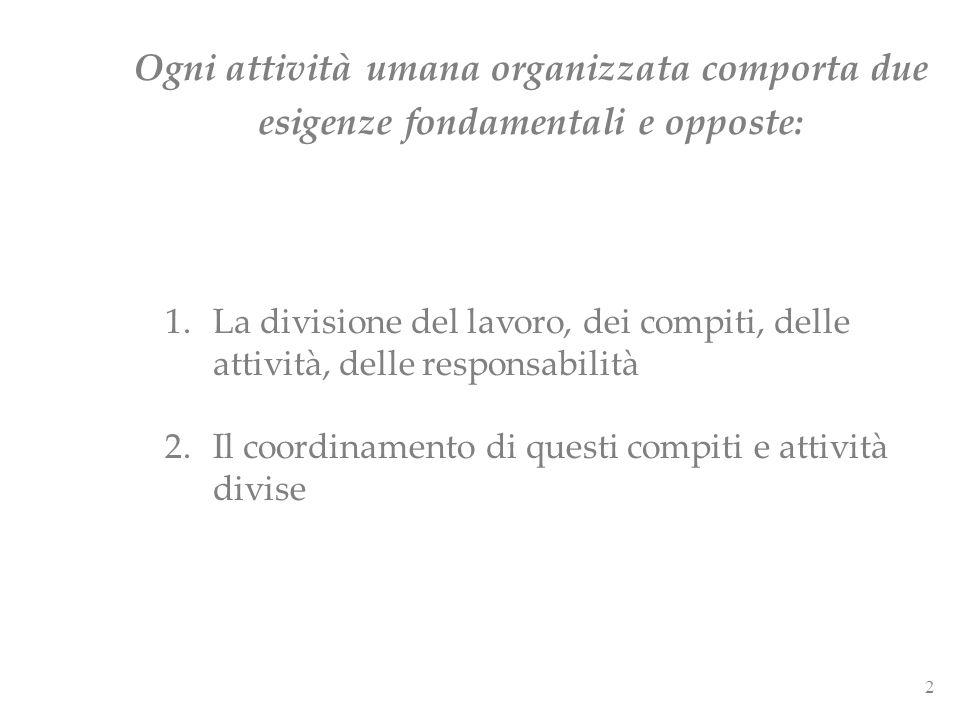 Ogni attività umana organizzata comporta due esigenze fondamentali e opposte: